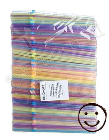 Трубочки со сгибом неоновые L=21cм [1000шт]; пластик; D=0.5,L=21см; разноцветные