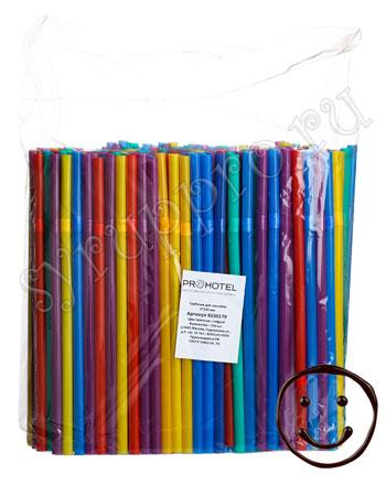 Трубочки со сгибом [250шт]; D=0.8,L=24см; разноцветные