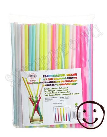 Трубочки б/изгиба L=25,5см [100шт]; D=7,H=320,L=190,B=40мм; разноцветные